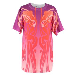 Katie Eary Men's Orange and Purple Ombre Printed T-Shirt