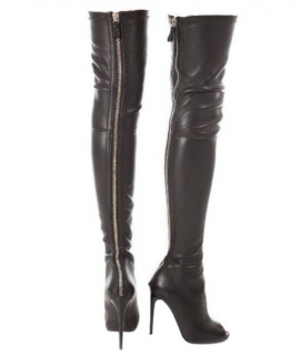Tom Ford Thigh High Stretch Peep-toe Boots