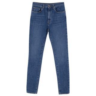 Saint Laurent High-Waist Mid Wash Blue Denim Skinny Jeans