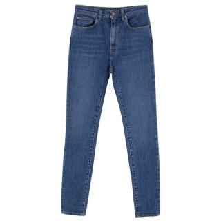 Saint Laurent High-Waist Mid Wash Blue Denim Skinny Jeans