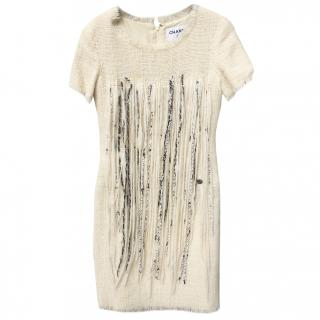 Chanel Wool Tweed Fringe Embellished Mini Dress