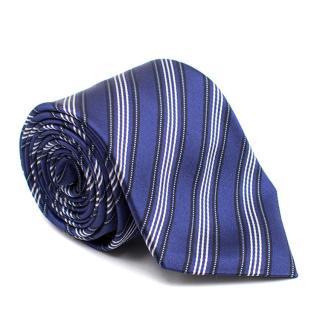 Canali Blue Diagonal Stripe Silk Tie