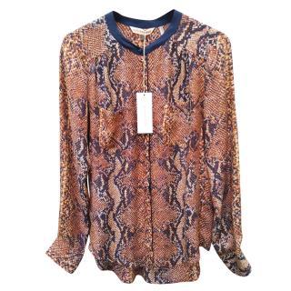 Rebecca Taylor Python Print Silk Blouse