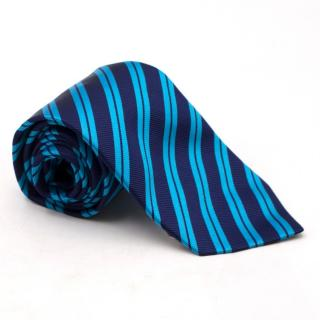 Eton Silk Diagonal Blue Stripe Tie