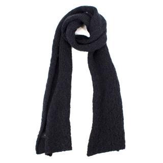 Zanone Men's Navy Wool Knit Scarf