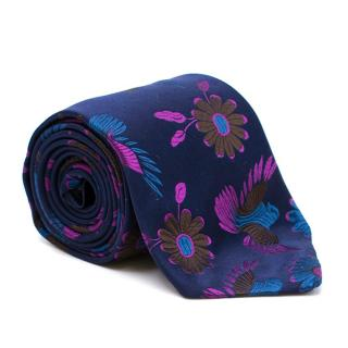 Duchamp Silk Floral & Bird Embroidered Tie