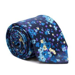 Duchamp Navy Floral Print Silk Tie