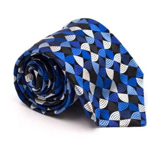 Duchamp Geometric Pattern Blue Silk Tie