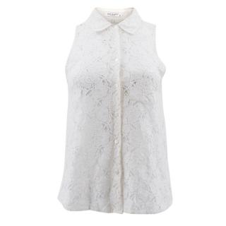 Equipment White Lace Sleeveless Shirt