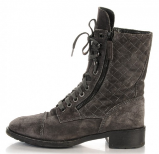 Chanel Suede Calfskin Quilted Combat Boots