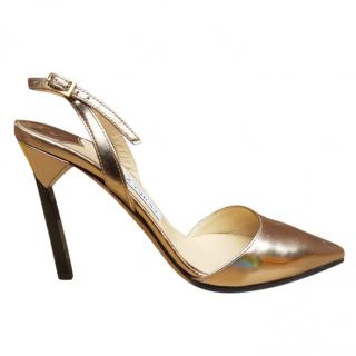 Jimmy Choo Rose Gold Erin 85 Slingback Pumps