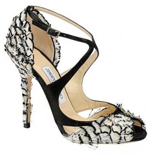 Jimmy Choo Kamelia Black & White Feathered Sandals