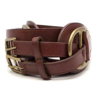 Ralph Lauren Brown Leather Double Buckle Belt