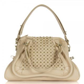Chloe Beige Leather Studded Paraty Shoulder Bag