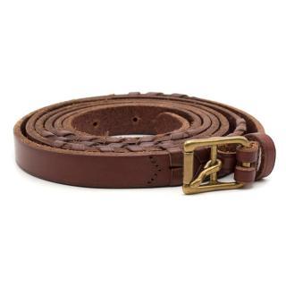 Ralph Lauren Brown Leather Wrap Around Belt