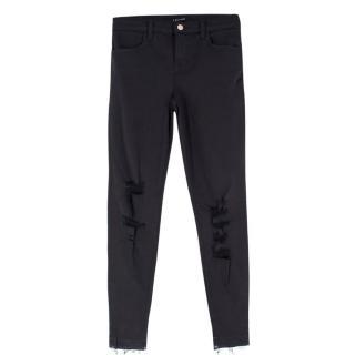 J Brand Alana Black Distressed Fray Hem Skinny Jeans