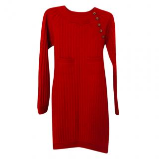 Chanel Red Knit Long-Sleeve Dress