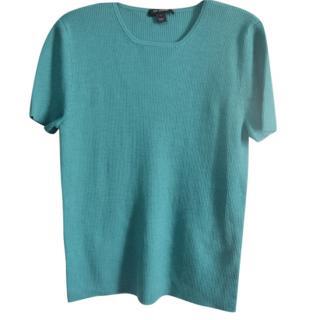 St.John wool blend knit short sleeve sweater