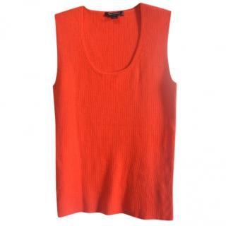 St.John red wool blend knit top