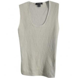 St.John grey wool blend knit top