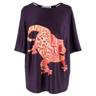 Katie Eary Lizard Print Purple T-shirt