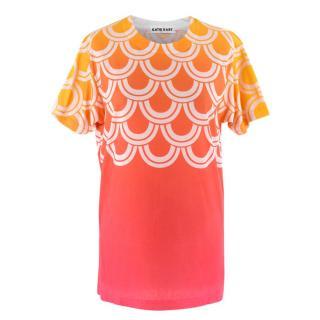 Katie Eary Men's Orange Ombre Oversized T Shirt