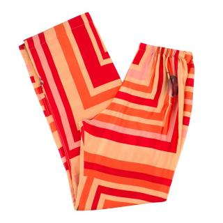 Katie Eary Orange Printed Silk Trousers
