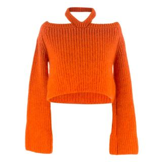 Katie Eary Men's Orange Cold Shoulder Wool Knit Sweater