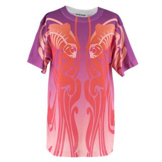 Katie Eary Orange and Purple Ombre Printed T-Shirt