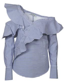 Self Portrait Off-the-shoulder ruffled striped cotton-poplin top