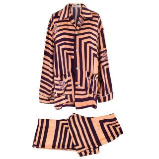 Katie Eary Nude and Purple Striped Pyjama Set