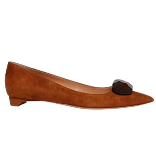Rupert Sanderson Bedfa Brown Wooden Pebble Ballerina Flats