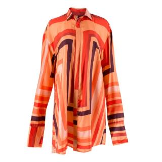 Katie Eary Men's Orange Patterned Silk Shirt