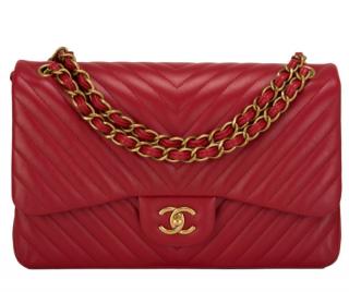 Chanel Red Chevron Jumbo Double Flap Bag
