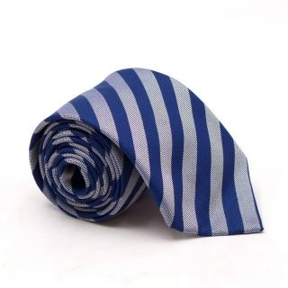 Thomas Pink Blue and Silver Striped Silk Tie