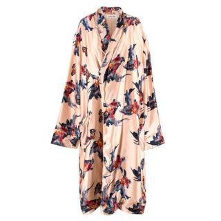 Katie Eary Pink Goldfish Printed SIlk Robe