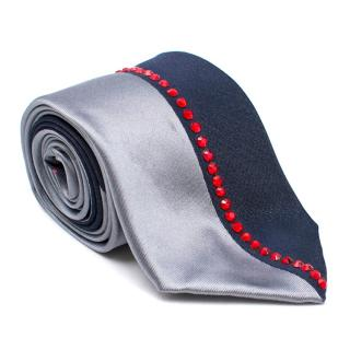 Duchamp Embellished Grey Silk Tie