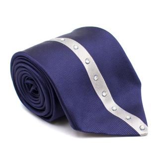 Duchamp Silk Navy & Silver Panel Diamante Tie