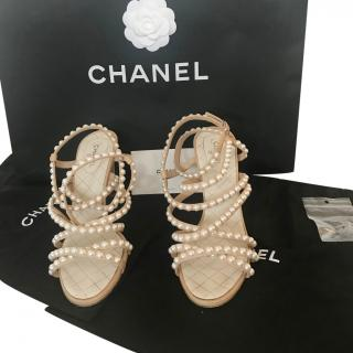 Chanel SS18 Crackled Leather Pearl Sandals