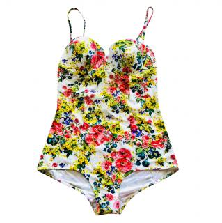 Dolce & Gabbana White Floral Swimsuit