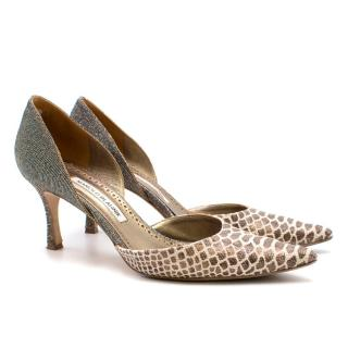 Manolo Blahnik Snakeskin Print Low Heeled Pumps