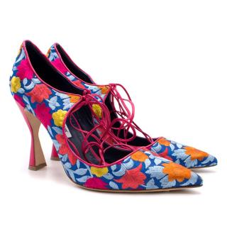Manolo Blahnik Pink Floral Lace Up Pumps