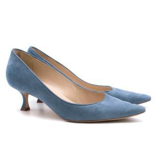 Manolo Blahnik Blue Suede Kitten Heel Pumps