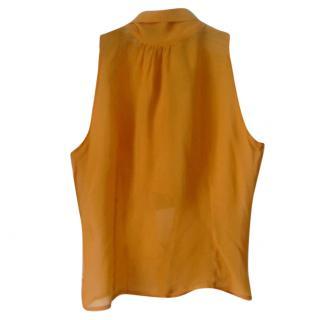 Gerard Darel Pumpkin Orange Chiffon Halter Top