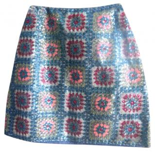 Manoush blue sequin mini skirt