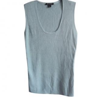 St.John blue wool blend knit top