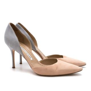 Manolo Blahnik Suede Two Tone Pumps