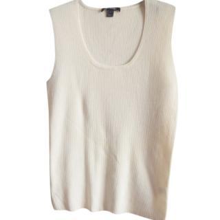 St.John beige wool blend knit top