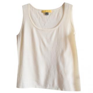 St.John beige wool knit top