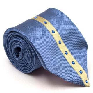 Duchamp Silk Blue & Gold Panel Diamante Tie